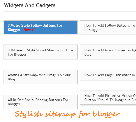 Stylish sitemap for blogger | 101helper blogger gadgets