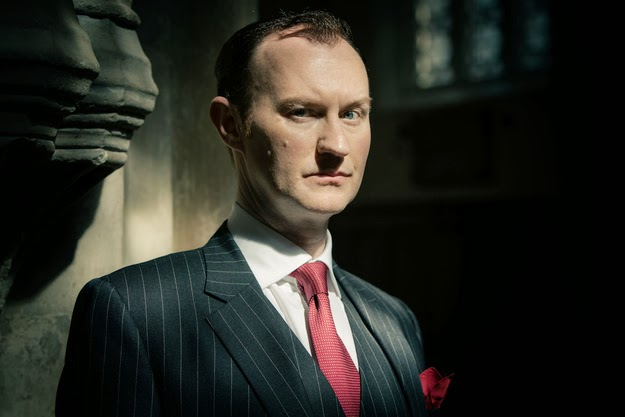 Mark Gatiss as Mycroft Holmes in BBC Sherlock Season 3 Episode 1 The Empty Hearse
