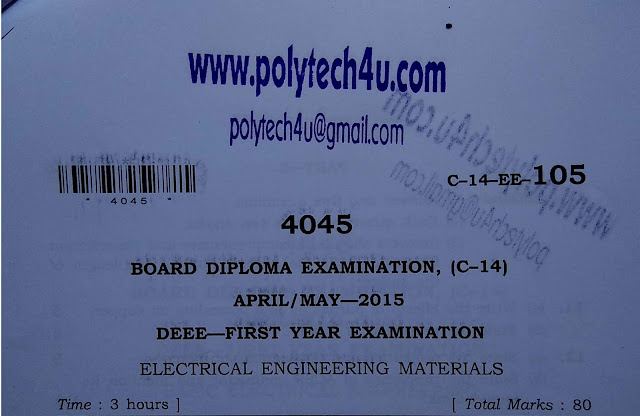 ELECTRICAL ENGINEERING MATERIALS SBTETAP C-14 DEEE MODEL PAPER