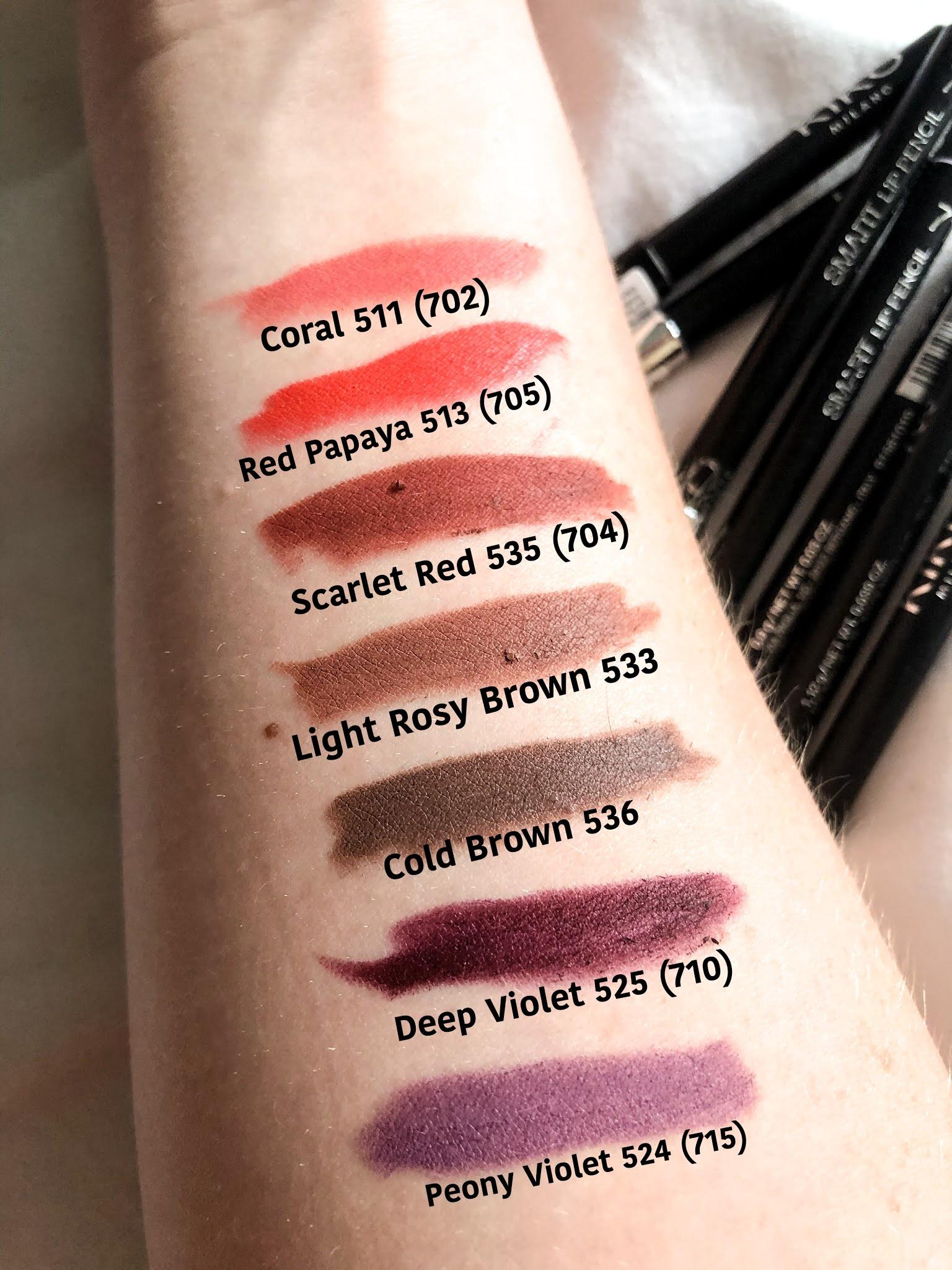 Kiko lip pencil swatches - shades 511, 513, 535, 533, 536, 525 and 524.