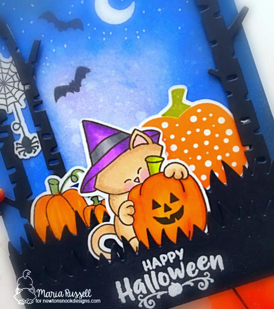Happy Halloween Card by Maria Russell | Newton's Perfect Pumpkin Stamp Set, Pick-a-Pumpkin Stamp Set and Forest Scene Builder Die Set by Newton's Nook Designs #newtonsnook #handmade