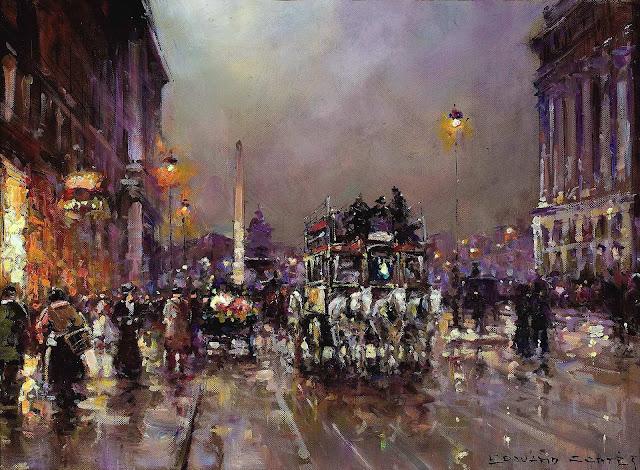an Edward Leon Cortes painting, 1910? omnibus