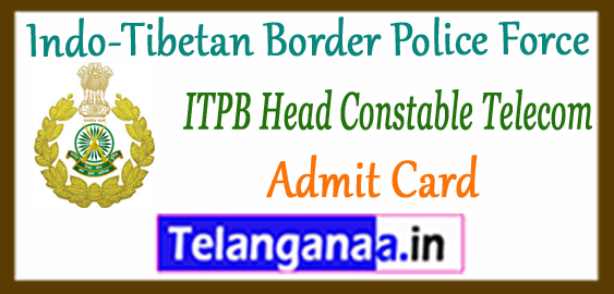 ITBP Indo-Tibetan Border Police Force Telecom HC 2017 Admit Card Result Merit List Cutoff