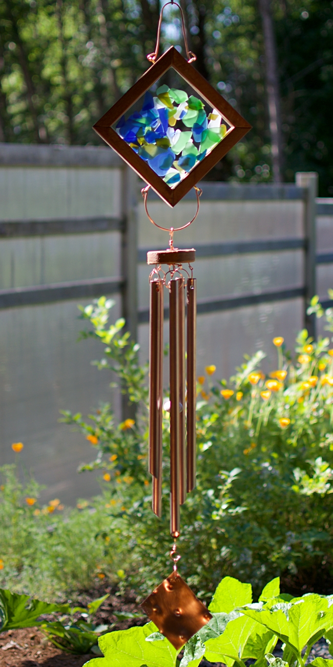 Kaleidoscope glass and copper art wind chime: Coast Chimes