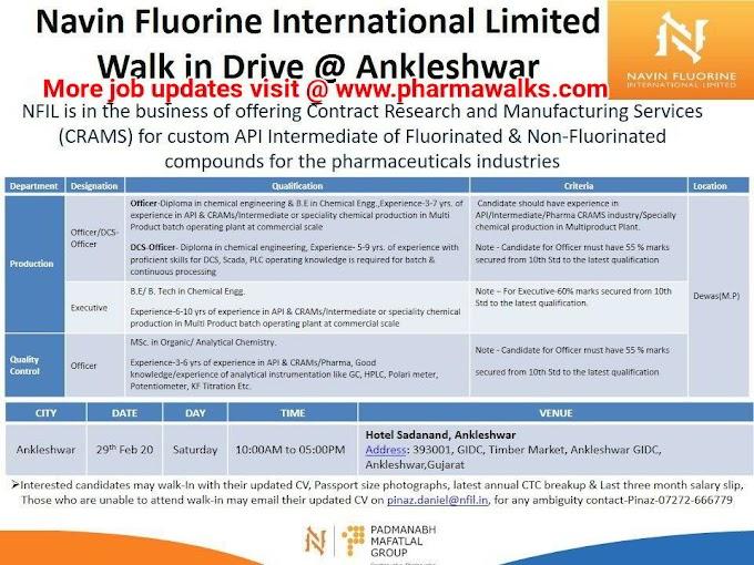 Navin Fluorine International walk-in interview for Production & QC on 29th Feb' 2020 @ Ankleshwar | Pharmawalks