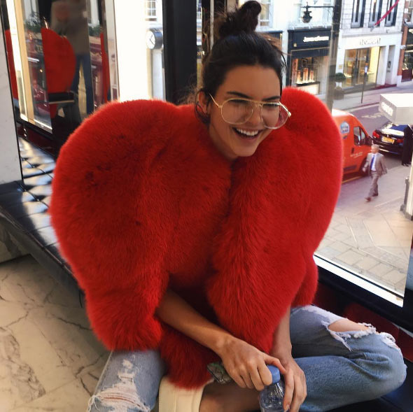 Kendall Jenner steps out in Rihanna's giant red heart dress