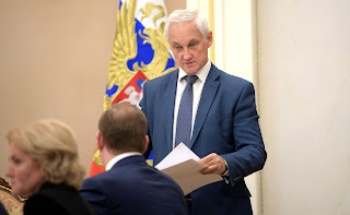 Presidential Aide Andrei Belousov before the meeting on economic issues.