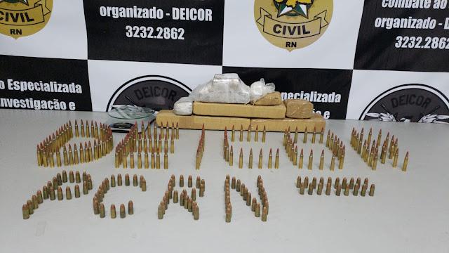 Polícia Civil apreende drogas e munições em São José de Mipibu