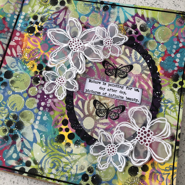Journal Page featuring PaperArtsy Paint, Stamps and Stencils. TS058 TS055 EAB21