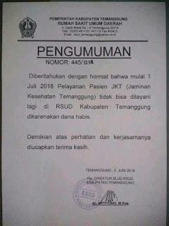 Viral, Beredar Informasi 1 Juli RSUD Temanggung Tidak Bisa Klaim JKT