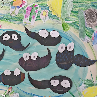 picture shows tadpoles made by school children for Bug Belly book