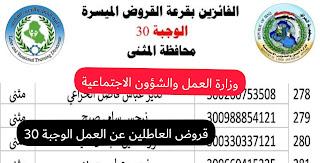 اسماء قروض العاطلين عن العمل 2021 الوجبة 30 تحميل pdf