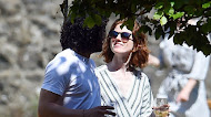 Kit Harington and wife Rose Leslie seen having lunch with family and friends at Wardhill Castle in Aberdeen