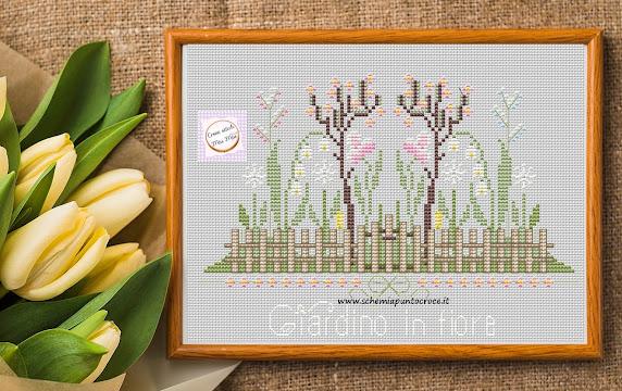 Schema punto croce -Giardino in fiore