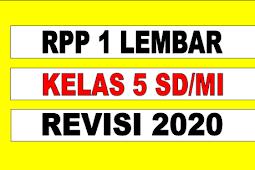 RPP 1 LEMBAR KELAS 5 TEMA 5 REVISI 2020 - RPP LURING
