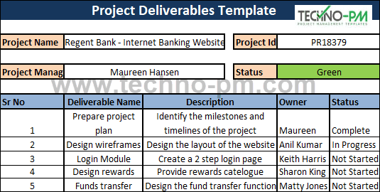 project management deliverables example, Project Deliverables Template