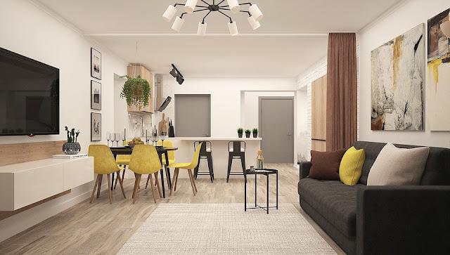 cucina-soggiorno-open space-arredamento-stile moderno