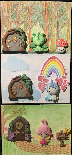 Fantasy House ATC card with a Dragon, a Unicorn, and a Fairy