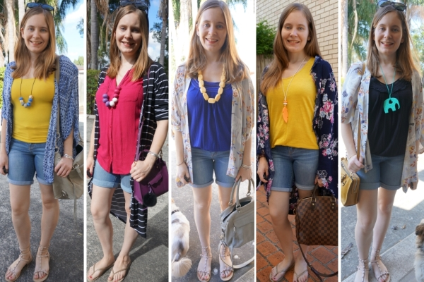 5 Outfit Ideas With Bermuda Denim Shorts and Kimonos | away from the blue