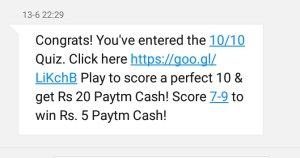 Paytm Quiz :Double Your Money Score 10/10 & Get Rs 20 Paytm Cash + Proof
