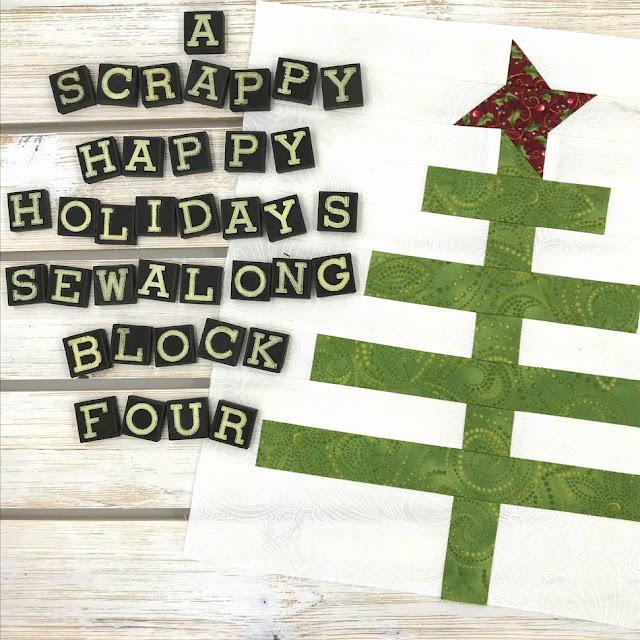 A Scrappy Happy Holidays Sew Along - Block 4 Designed By Thistle Thicket Studio. www.thistlethicketstudio.com