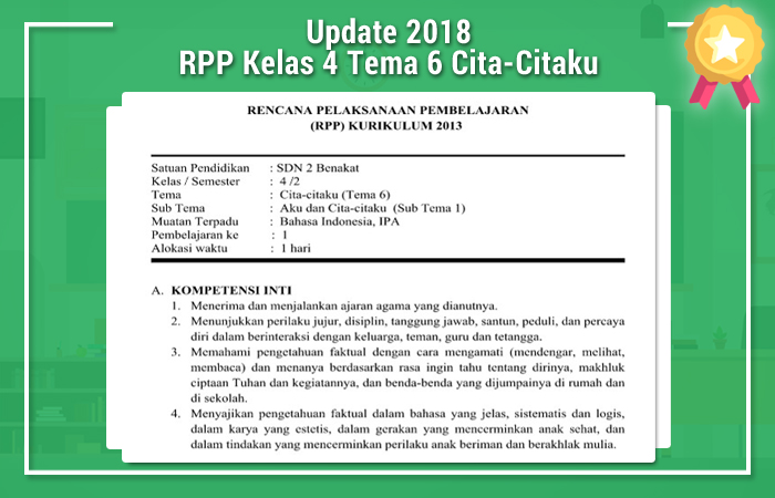 RPP Kelas 4 Tema 6 Cita-Citaku Revisi 2017