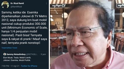 Mengaku Sempat Dukung Esemka, Rizal Ramli: Maaf Saya Naif, Ternyata Prank Nonstop