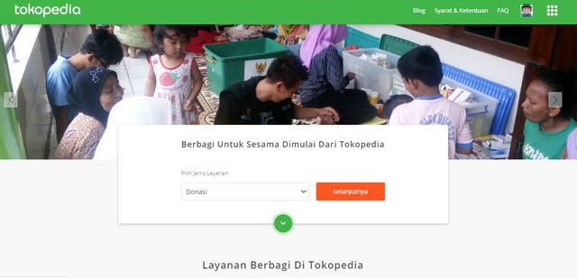 Halaman Donasi Tokopedia