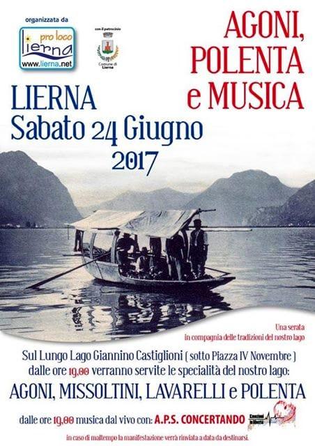 Agoni, polenta e musica sul lungolago 24 giugno Lierna (LC)
