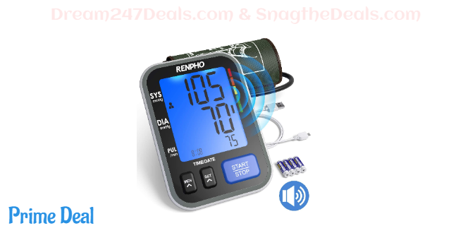 40% OFF RENPHO Blood Pressure Monitor Upper Arm for Home Use with Speaker, Accurate Automatic Compact BP Machine with Extra Large Cuff 16.5 inch, Digital Large Display, 2-Users, 240 Recordings, FDA Approved