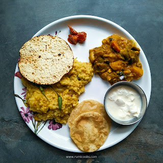 Portion Control Meal Plate :No Onion No Garlic Dal Khichuri, Labra Sabzi, Roasted Papad, Pickle, Wheat Phulka (luci) and Curd