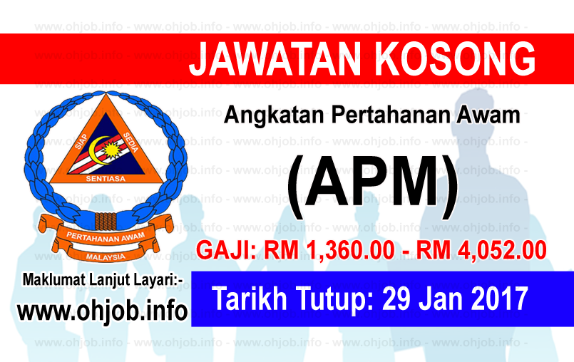 Jawatan Kerja Kosong Angkatan Pertahanan Awam (APM) logo www.ohjob.info januari 2017