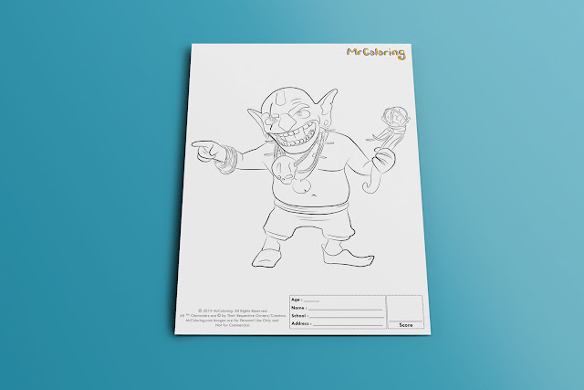 Free Printable Goblin Clash of Clans Template Coloriage Outline Blank Coloring Page pdf For Kids Pictures To Print Out Fun Colouring Pages Kindergarten Preschool Toddler sheet