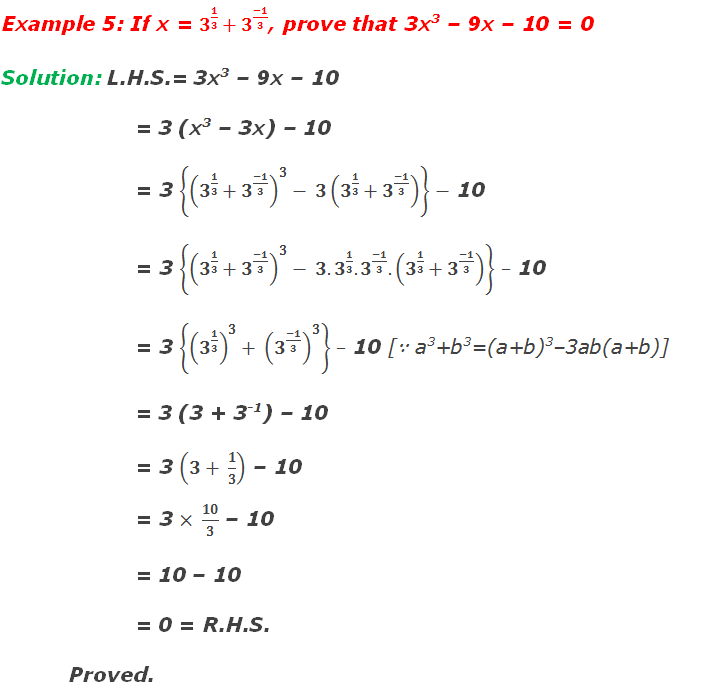 Example 5: If x = 3^(1/3)+3^((-1)/3), prove that 3x3 – 9x – 10 = 0