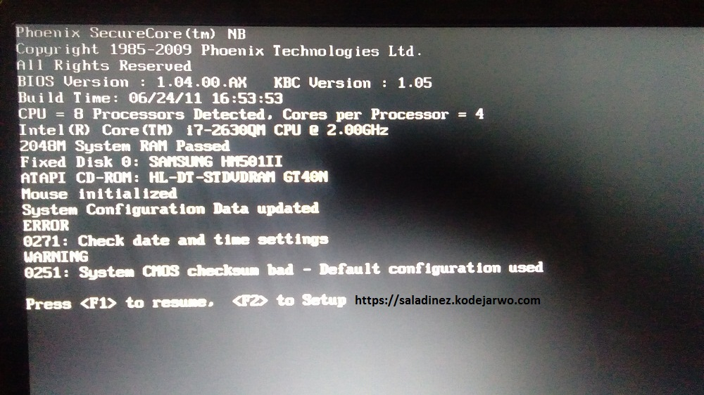 ERROR Warning System CMOS Checksum Bad