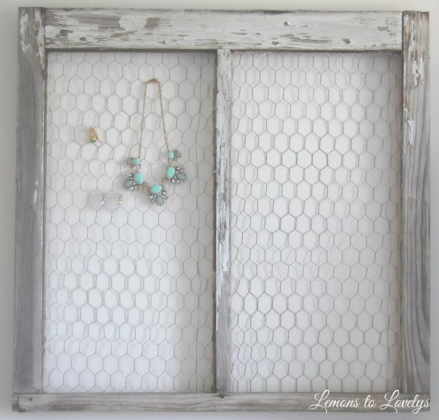DIY jewelry holder made from an old window.  Tutorial on www.lemonstolovelys.blogspot.com