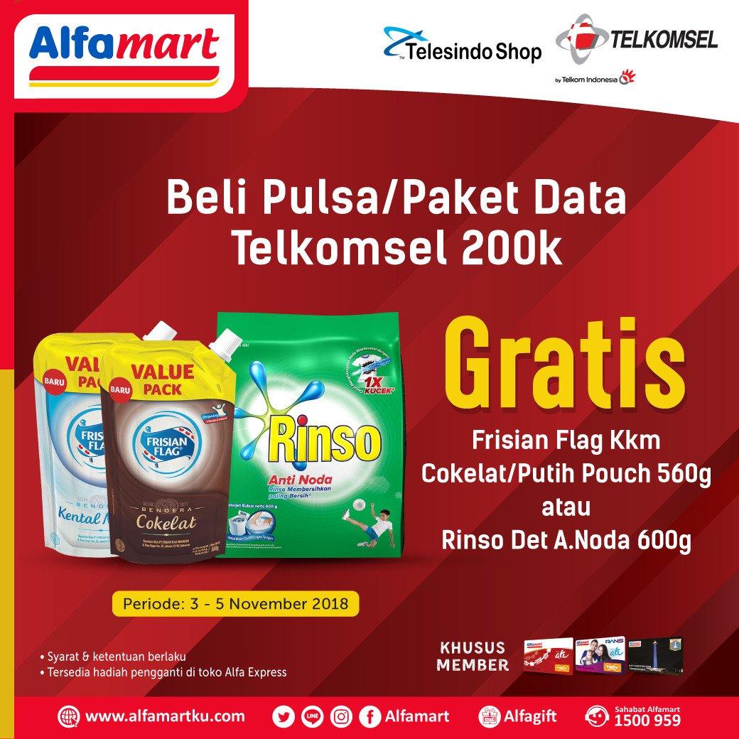 Alfamart - Promo Beli Pulsa / Paket Data Telkomsel 200 Ribu Gratis Produk (s.d 05 Nov 2018)