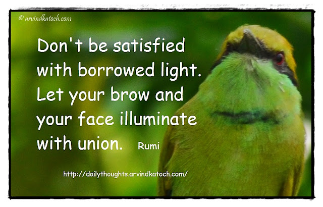 Quote, Rumi, Meaning, satisfied, borrowed light, illuminate,