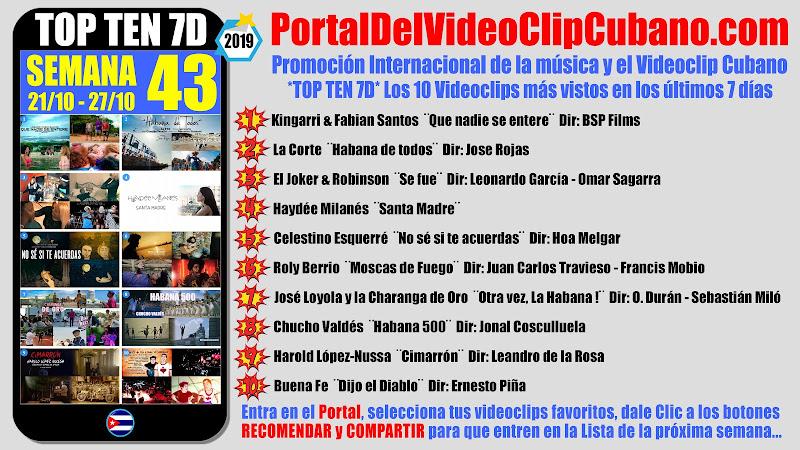 Artistas ganadores del * TOP TEN 7D * con los 10 Videoclips más vistos en la semana 43 (21/10 a 27/10 de 2019) en el Portal Del Vídeo Clip Cubano