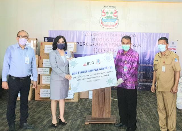 Sekda Lakat terima Bantuan Covid-19 dari BankSulutGo dan PT Taspen Manado