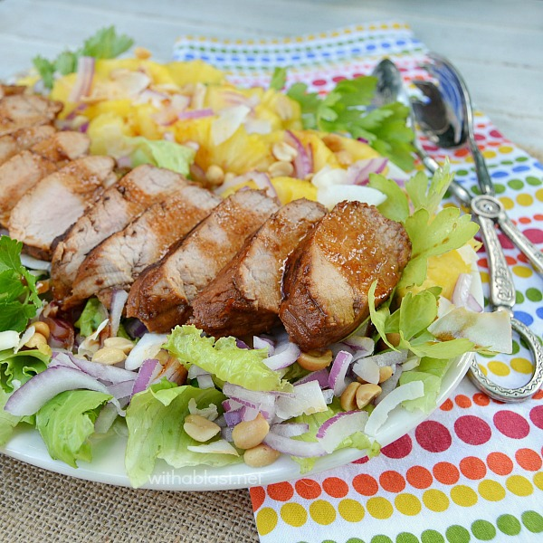 Asian Pork Tenderloin and Pineapple Salad ~ Hearty, filling Asian Pork Loin & Pineapple Salad which is perfect for lunch or a light dinner