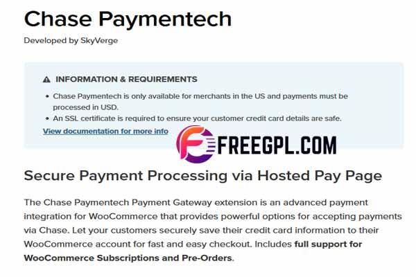 WooCommerce Chase Paymentech WordPress Plugin Free Download