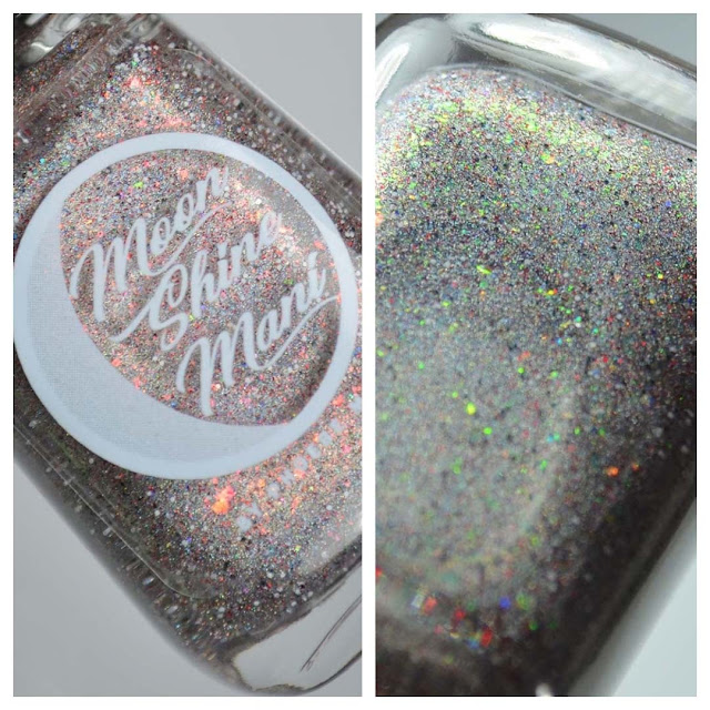 grey holographic nail polish with glitter in a bottle