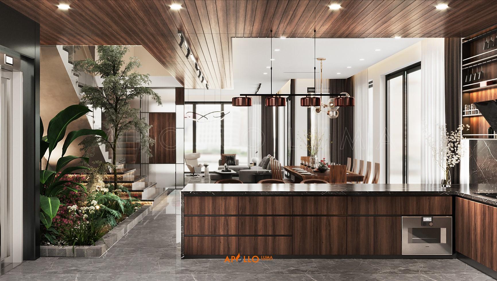 Thiết kế phòng bếp biệt thự Ecopark - Gỗ óc chó sang trọng
