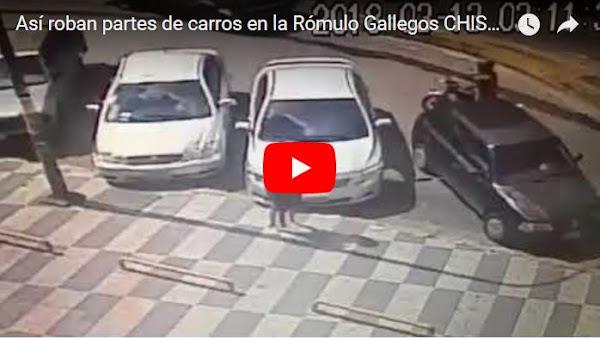 Así roban partes de carros en la Rómulo Gallegos