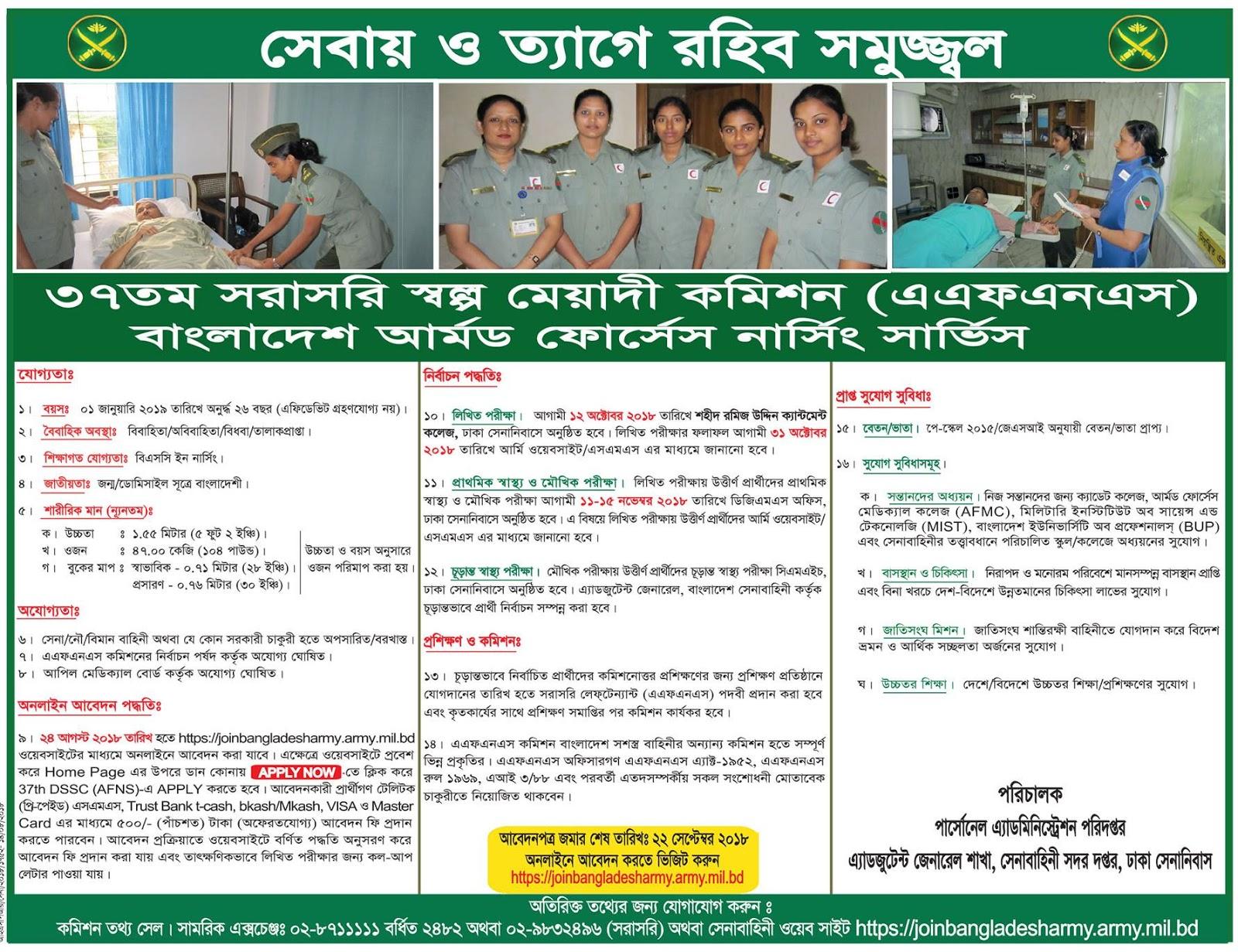 37ST Armed Forces Nursing Service (AFNS) Nurse Recruitment Circular 2018