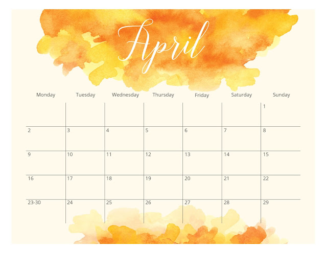 Watercolor Splash April 2018 Calendar with Monday as the first day of the week
