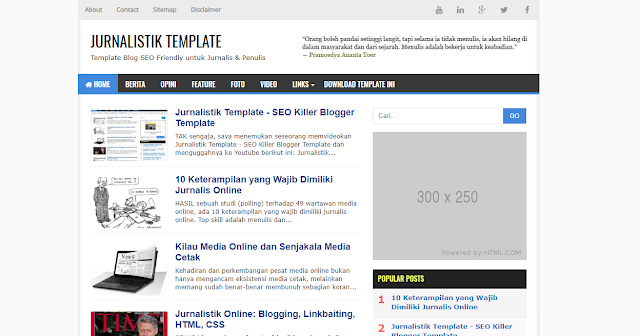 Jurnalistik SEO Friendly Blogger Template