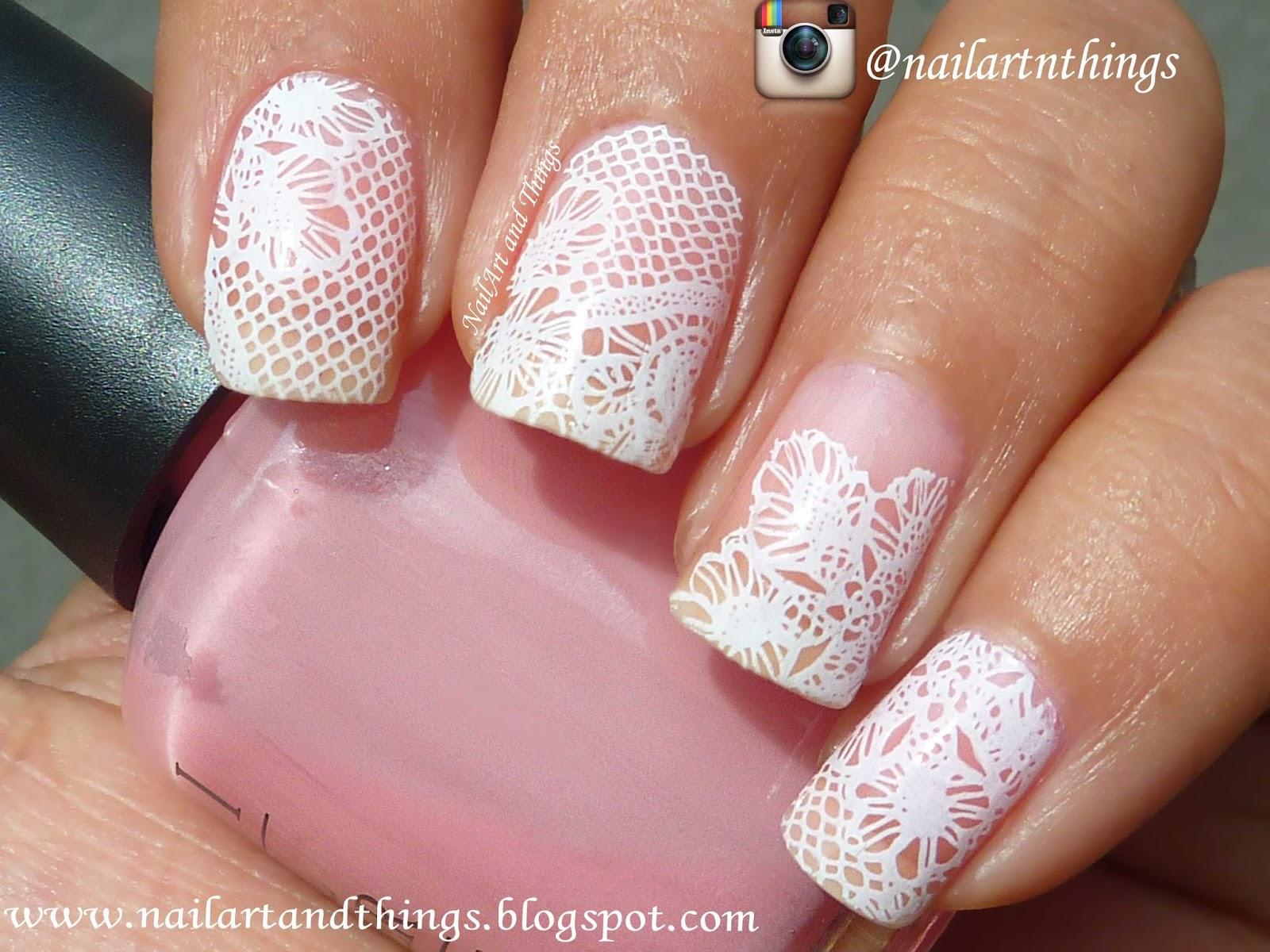 NailArt and Things: Elegant Bridal Lace Nail Art