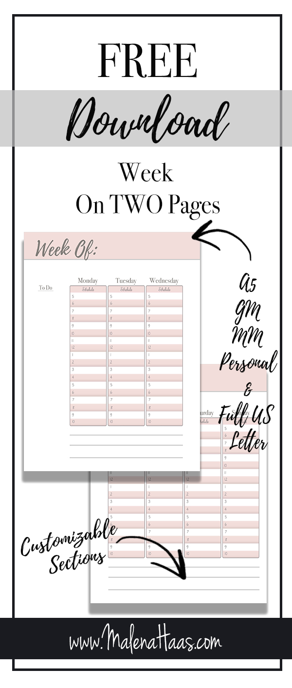 Free Download Week On Two Pages Pink and Grey in Multiple Sizes A5 GM Personal MM and US Letter for printing and inserting in your planner http://www.malenahaas.com/2018/05/freebie-friday-week-at-glance-a5-mm-gm.html